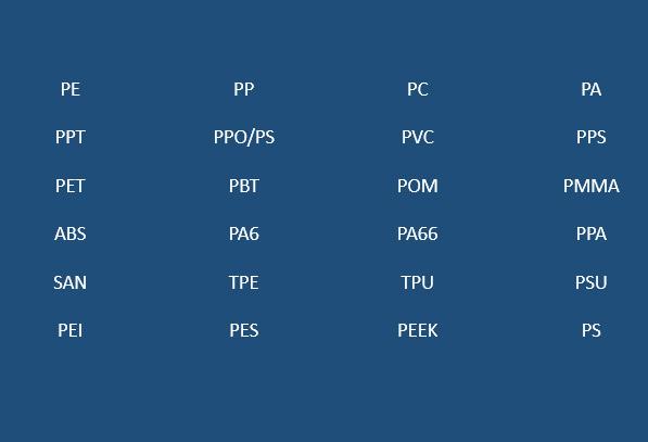 Résines générales et matières plastiques industrielles, par exemple:ABS, PP, PC, PA, PE, PP / PS, PPA, ABS, PET, PBT, POM, PMMA, PA6, PA66, PP, PP, PVC, San, TPE, TPU, PSU, Pei, PEK, etc.